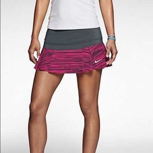 Gray and Pink Nike Pleated Tennis Skirt